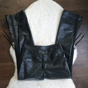 Danier Y2K Shiny Leather Corset Flare Wide Leg Pants Size 6